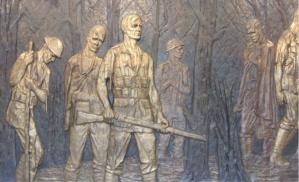 A panel from the Delville Wood memorial
