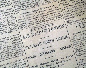 SOURCE G: A newspaper article on the Zeppelin Air Raid in London in January 1915. Innocent civilians died after this air raid and shows the impact of the war on the people.
